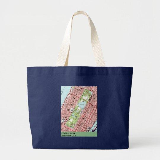 Central Park New York City Vintage Map Large Tote Bag