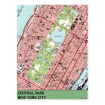 Central Park New York City Vintage Map Postcard