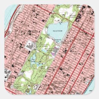 Central Park New York City Vintage Map Square Sticker