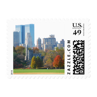 Central Park, New York in Autumn - Postage Stamp