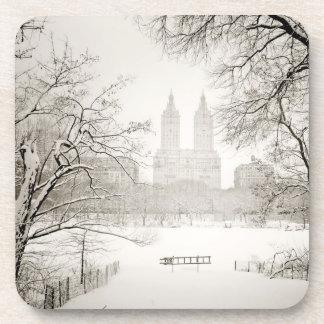 Central Park - nieve hermosa del invierno Posavasos De Bebidas
