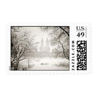 Central Park - nieve hermosa del invierno Sello