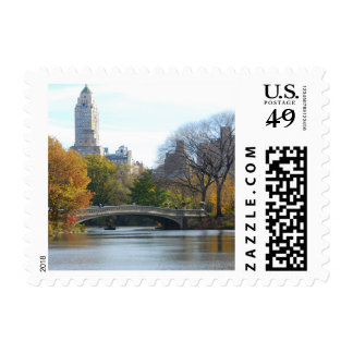 Central Park NYC in Autumn - Postage Stamp