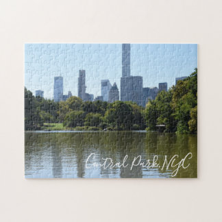 Central Park NYC Lake Photography Midtown Skyline Jigsaw Puzzle