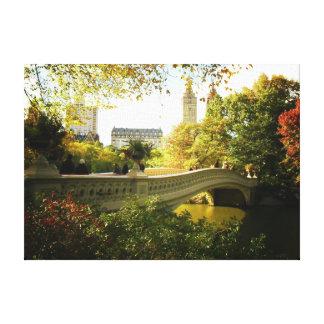 Central Park - puente del arco - otoño Impresiones De Lienzo