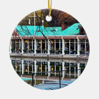 Central Park Rowboat Restaurant Boathouse Double-Sided Ceramic Round Christmas Ornament