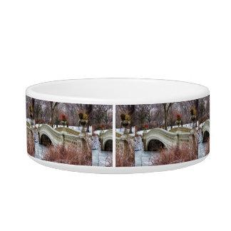 Central Park's Bow Bridge Photo Cat Bowl