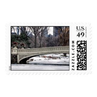 Central Park's Bow Bridge Photo Postage Stamp