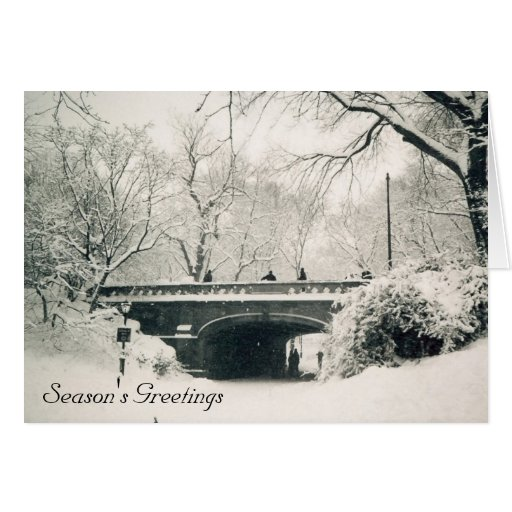 central park season's greetings greeting card