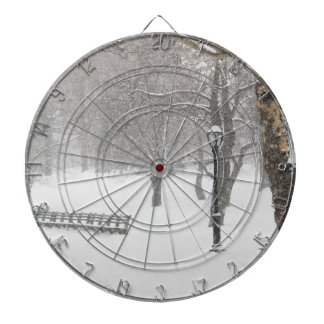 Central Park Snow Storm Dartboard With Darts
