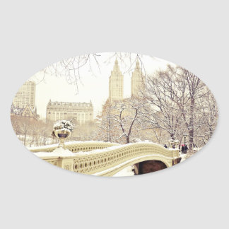 Central Park Snow - Winter New York Oval Sticker