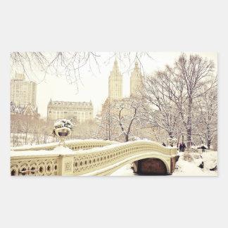 Central Park Snow - Winter New York Rectangular Sticker