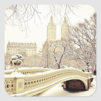 Central Park Snow - Winter New York Square Sticker