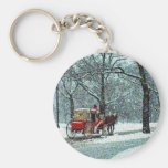 Central Park Snowy Carriage Key Chains