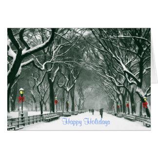 Central Park Snowy Path Holidays Card