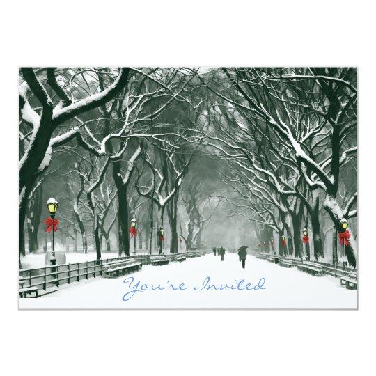 Central Park Snowy Path Invited Card