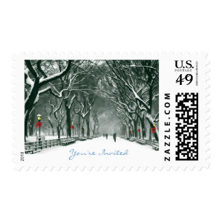 Central Park Snowy Path Invited Postage