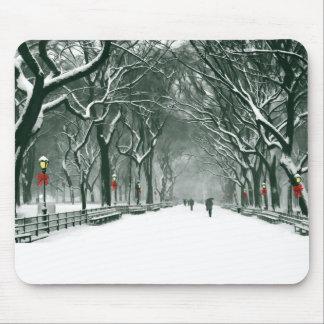 Central Park Snowy Path Mouse Pad