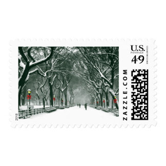 Central Park Snowy Path Postage Stamp