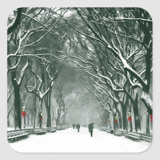 Central Park Snowy Path Square Sticker