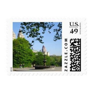 Central Park Spring Skyline Stamp