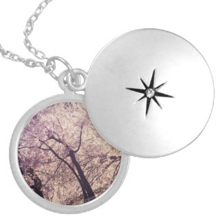 Central Park Spring Trees Round Locket Necklace