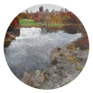 Central Park Watercolor Melamine Plate