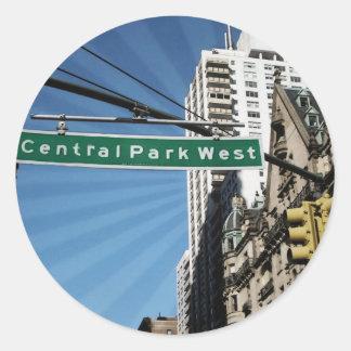 Central Park West Street New York New York Classic Round Sticker