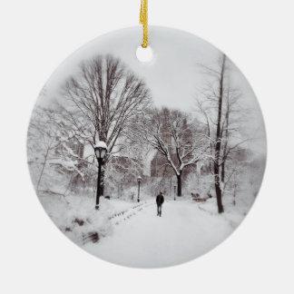 Central Park White Out Ceramic Ornament