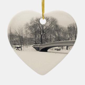Central Park Winter - Bow Bridge Snow Ceramic Ornament