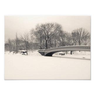 Central Park Winter - Bow Bridge Snow Art Photo