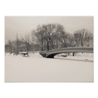 Central Park Winter - Bow Bridge Snow Poster