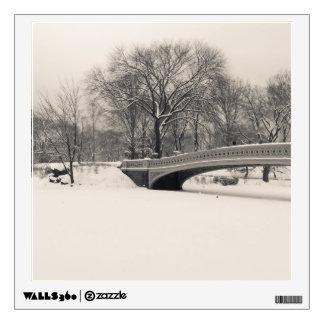 Central Park Winter - Bow Bridge Snow Wall Sticker