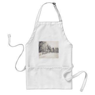 Central Park Winter Path - New York City Adult Apron