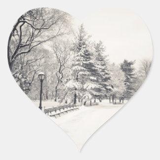 Central Park Winter Path - New York City Heart Sticker