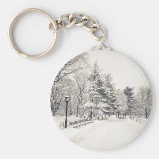 Central Park Winter Path - New York City Keychain