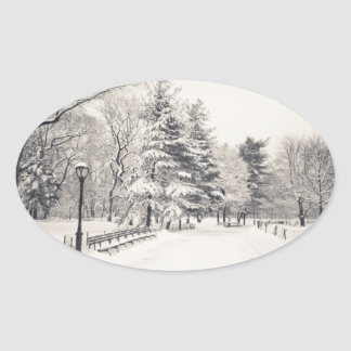 Central Park Winter Path - New York City Oval Sticker