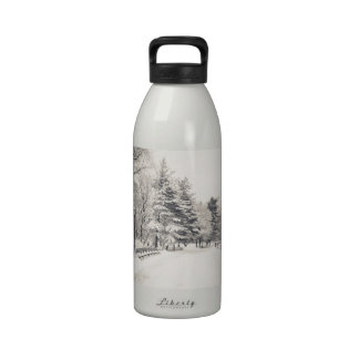 Central Park Winter Path - New York City Reusable Water Bottle
