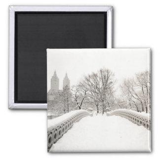 Central Park Winter Romance - Bow Bridge 2 Inch Square Magnet