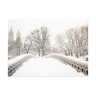 Central Park Winter Romance - Bow Bridge Canvas Print