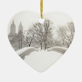Central Park Winter Romance - Bow Bridge Ceramic Ornament