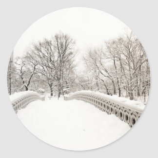 Central Park Winter Romance - Bow Bridge Classic Round Sticker