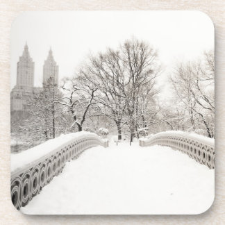 Central Park Winter Romance - Bow Bridge Drink Coaster