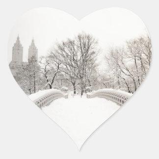 Central Park Winter Romance - Bow Bridge Heart Sticker