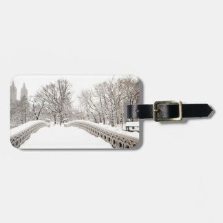 Central Park Winter Romance - Bow Bridge Luggage Tag