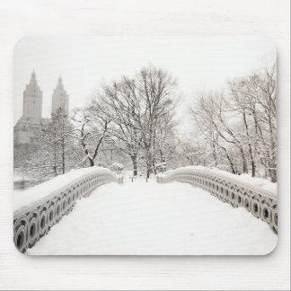 Central Park Winter Romance - Bow Bridge Mouse Pad