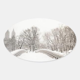 Central Park Winter Romance - Bow Bridge Oval Sticker