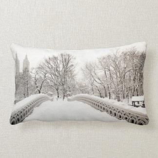 Central Park Winter Romance - Bow Bridge Pillow