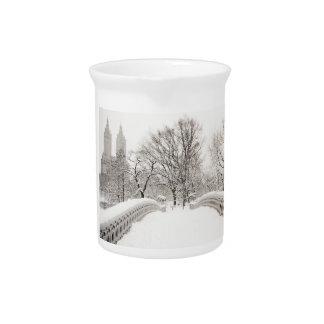 Central Park Winter Romance - Bow Bridge Drink Pitchers