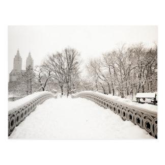 Central Park Winter Romance - Bow Bridge Postcard